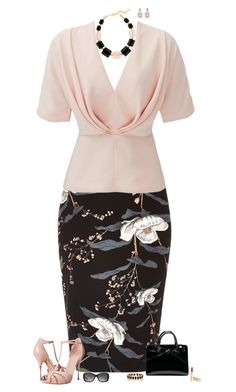 A fashion look from December 2016 featuring pink top, floral skirt and high heeled footwear. Browse and shop related looks. Work Fashion, Fashion Looks, Fashion Outfits, Womens Fashion, Stylish Outfits, Cool Outfits, Modelos Fashion, Complete Outfits, Work Attire