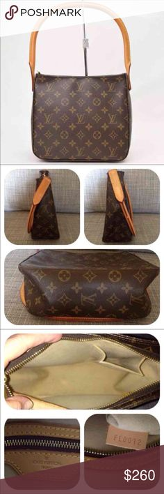 """AUTHENTIC LOUIS VUITTON LOOPING BAG Beautiful pre-owned LV shoulder bag LOOPING MM. This bag is in great condition. Monogrammed canvas has no scratches or tears. Strap is strong, no cracks and stitching is tight, some normal darkness on the inside top. Zipper works perfectly, minor tarnish on the zipper's tag. Inside, one zipper pocket and slot for cell phone.  Made in France, Jan, 2002. W """"9.5 x H """"8.25in. D""""10.5 approximately. I loved this bag, but I outgrew it. I know you will love it…"""