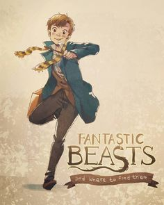 Newt Scamander Fantastic Beasts and Where To Find Them Harry Potter Universe, Arte Do Harry Potter, Harry Potter World, Fantastic Beasts Fanart, Fantastic Beasts And Where, Hermione Granger, Illustrations, Ravenclaw, Hogwarts