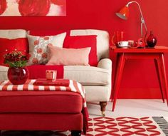 Dramatic Red Interior for Some Effects and Senses : Cherry Living Room Feminine Touch Used Modern Sofa Furniture Also SMall Lampshade Design Ideas As Home Inspiration To Your House