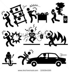 Car Accident Explosion Electrocuted Fire Danger Icon Symbol Sign Pictogram by Leremy, via Shutterstock