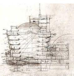Section Drawing - Guggenheim Museum / 1071 Fifth Avenue, New York City, New York / / Frank Lloyd Wright Frank Lloyd Wright, John Wright, Architecture Drawings, Concept Architecture, Sustainable Architecture, Modern Architecture, Museum Architecture, Section Drawing, Model Sketch