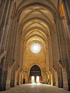 View toward the west entrance, Monastery of Santa Maria d'Alcobaça.