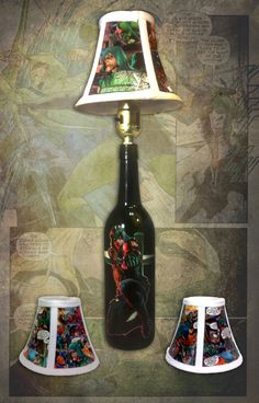 Green Arrow comic book bottle lamp with shade. by EJcrafting, $40.00