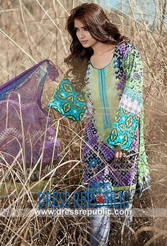 Printed Round Neck Dress Maria B Summer Lawn Collection 2014-2015
