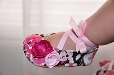 Pink Brown White w/Flowers Baby Ballerina Shoes by roxyfoxy3, $20.00
