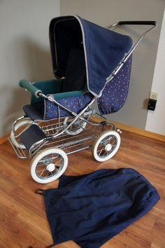 Emmaljunga Vintage 1996 Rio City Line Navy Baby Stroller W/ Extras Pram Carriage | eBay