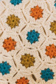 Road Trip hexagon crochet blanket.