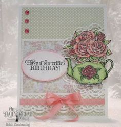Our Daily Bread Designs Stamp Set: Tea Time, Our Daily Bread Designs Paper Collections:	Easter Card, Pastel, Our Daily Bread Designs Custom Dies: Pierced Ovals, Teapot and Roses, Pierced Rectangles, Double Stitched Rectangles, Beautiful Borders, Doily