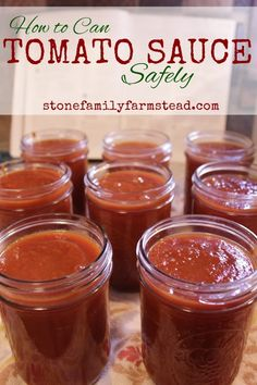 How to Can Tomato Sauce Safely Need a way to use up all of your tomato bounty? How about canning it up for your shelf? Nothing like organic, home grown tomato sauce for your chilis, soups, and sauces! Canned Tomato Sauce, Homemade Tomato Sauce, Tomato Sauce Recipe, Sauce Recipes, How To Make Tomato Sauce, Pasta Sauce Canning Recipe, Canning Pizza Sauce, Canning Marinara Sauce, Jelly Recipes