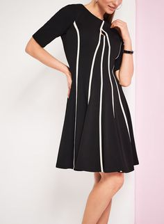 Contrast Piping Fit & Flare Dress