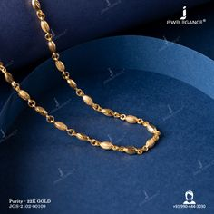 22k Plain Gold Chain (10.95 gms) - Plain Gold Jewellery for Unisex by Jewelegance (JGS-2102-00109) #myjewelegance #chain #goldaccessories #22caratgoldjewellery #goldchain