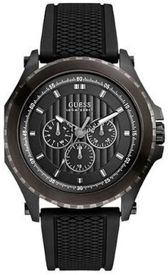 35b8c276a25 Amazon.com: GUESS Men's U0063G1 Sporty Silicone Black Watch: Guess Watches:  Watches