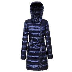 BLDO Womens Winter Lightweight Hood Midlength Down Jacket with Belt M Blue * Visit the image link more details.