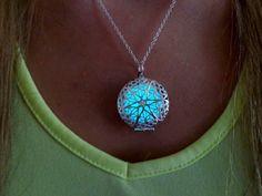 Sterling Silver Aqua Glow in the Dark Round Star Necklace Glow the Dark Locket Necklace Star Glow in the Dark Jewelry by TimelessMaiden on Etsy