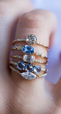 Heavenly blue sapphires and sparkly diamonds