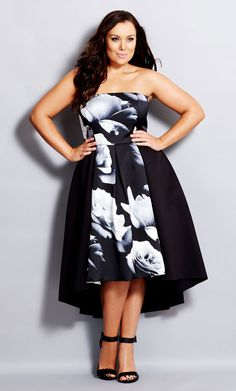 City Chic 'Blown Rose' Print Block Strapless High/Low Dress (Plus Size) Look Plus Size, Dress Plus Size, Plus Size Women, Plus Size Outfits, Fashion Over, Curvy Fashion, Plus Size Fashion, Girl Fashion, Womens Fashion