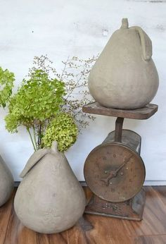 diy fall decor faux concrete pears, crafts, how to, painting, seasonal holiday decor