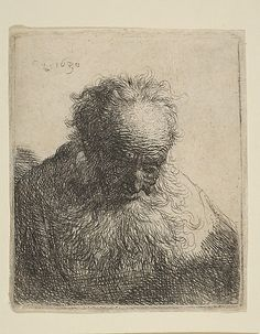 Rembrandt : Bust of an Old Man with a Flowing Beard: the Head Bowed Forward: Left Shoulder Unshaded