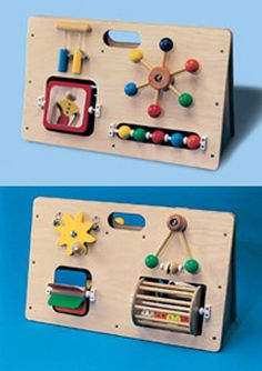 Multiple fine motor activity toys on a tough wooden base