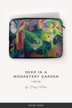 """Deer in a Monastery Garden"" by Franz Marc Franz Marc, 7 And 7, Back To Black, Laptop Sleeves, Snug, Deer, Garden, Fabric, Tejido"