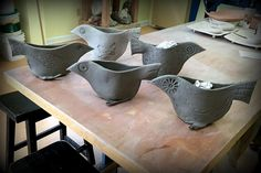 Last week I finished hand-building 5 bird vases for my holiday booth.  Today, Tuesday is pottery day. If they are finished bisque firing, it will leave me with a whole-lotta glazing to do.  9 jewel...