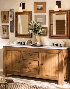 A bathroom that's rustic chic and features our Stella Bath Collection. #potterybarn