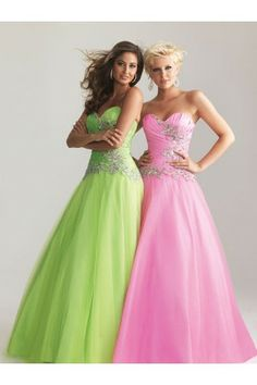 Sweetheart Strapless A-line Lovely Crystals Floor Length Prom Dresses