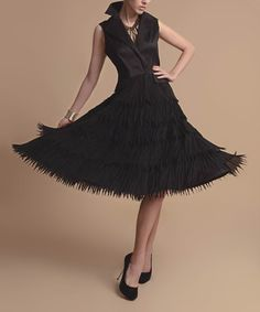 Another great find on #zulily! Black Fringe Sleeveless Dress - Women & Plus by Jerry T Fashion #zulilyfinds