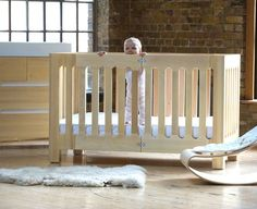 natural wood nursery ideas from bloom, alma crib and dresser, lounger