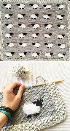 Sheep Baby Blanket | Free Knitting Pattern: www.amazingknitt… | Flickr Baby Knitting Patterns, Knitting Stitches, Baby Patterns, Embroidery Patterns, Crochet Patterns, Knitted Doll Patterns, Blanket Patterns, Stitch Patterns, Knitting For Beginners