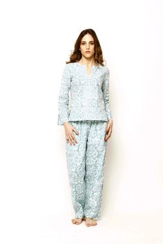 Mirabella Pajamas are constructed from super soft cotton voile hand block printed with azo-free dyes. Cut for a relaxed fit and fully lined with cotton, they feature two side. Luxury Clothing Brands, Pajama Bottoms, Pajama Pants, Cotton Pyjamas, Sleepwear Women, Women's Sleepwear, Winter Looks, Wide Leg Pants, Pajama Set