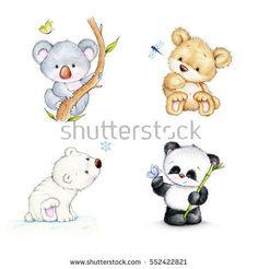 Set of bears - koala, panda, polar bear, Teddy bear - Illustration - Animals Teddy Bear Nursery, Baby Teddy Bear, Knitted Teddy Bear, Cute Teddy Bears, Baby Animal Drawings, Cute Drawings, Drawings Of Bears, Polar Bear Drawing, Teddy Drawing