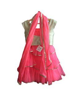 Buy it at http://rutbaa.com/designers/qt/pink-golden-textured-lehnga.html  Pink Golden textured Lehnga   1. lengha Net  2.  Blouse Cotton