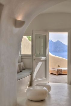 Tour Mystique, a Luxury Collection Hotel, Santorini with our photo gallery. Our Santorini hotel photos will show you accommodations, public spaces & more. Interior Architecture, Interior And Exterior, Interior Design, Greece Architecture, Home Living, Living Spaces, Living Area, Home Theaters, Casa Hotel