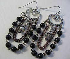 Vintage Assemblage Earrings Vintage Rosary by StRageJewelryCo, $20.00