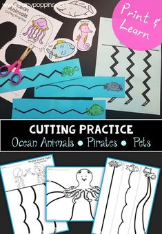 Fun cutting practice worksheets to help kids develop their scissor skills. They are a fun addition to morning work tubs too. #scissorskills #cuttingpractice #kindergarten #preschool #finemotorskills