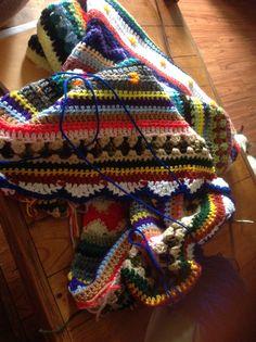 Stripy blanket wip April 2015