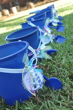 The little Mermaids party - sand bucket party favors. (Get at the dollar store) also had peanut butter jellyfish sandwiches