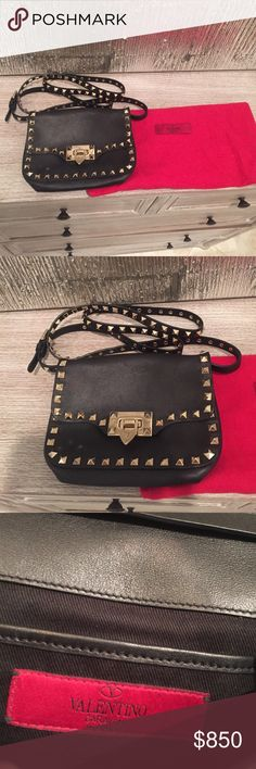 100% authentic Valentino Rockstud messenger bag 100% authentic Valentino Rockstud messenger evening bag!  Small, fits an IPhone 6 easily, with keys some credit cards and lipstick!  Perfect for an evening out!  Comes with Dust bag! Valentino Bags Crossbody Bags