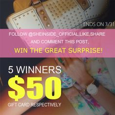 #ShareIG >>Sheinside Bring on Spring Giveaway<< Sheinside giveaway comes again! Follow @sheinside_official,like,share and comment below this post, you'll win the great surprise! 5 gift cards will be given away,each of which is worth $50. It'll end on Mar 31. You'd be crazy to miss out!