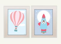 SET 2 illustrations kids room decor PRINTED por Ilustracionymas