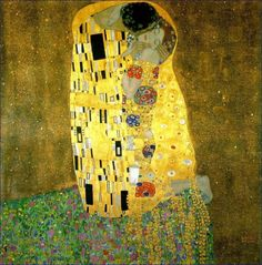 """""""The Kiss"""". 1907-08 (100 Kb); 180 x180 cm (71 x71 in); Österreichisches Galerie Wien, Vienna Man leaning over and kissing kneeling woman. All shrouded in symbolically patterned gold. A bed of flowers below them.  Just as Munch can be associated with both Symbolism and Expressionism,so the art of the Austrian painter, Gustav Klimt (1862-1918)."""