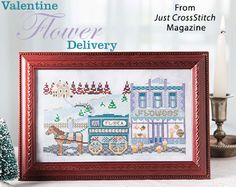 Valentine Flower Delivery from the Jan/Feb 2017 issue of Just CrossStitch Magazine. Order a digital copy here: https://www.anniescatalog.com/detail.html?prod_id=134887