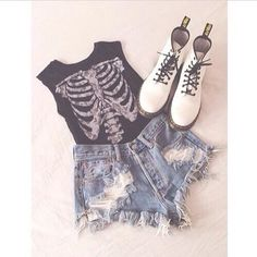 Summer outfit. Love the skeleton shirt.