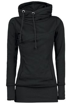 65971dfc5edb9 Black Plain Drawstring Pockets Cowl Neck Plus Size Hooded Pullover  Sweatshirt Pullover