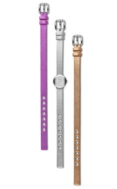 Marc by Marc Jacobs Amy Dinky 20mm watch box set.  Features silver, pop pink, and rose gold metallic leather bands.