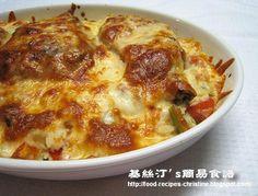 焗豬扒飯【港式經典焗飯】Baked Pork Chops with Fried Rice from 簡易食譜