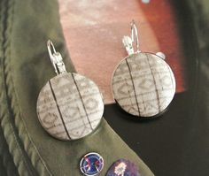 Fabric button earrings earrings hoops silver ear by RetroNaNa, $8.50