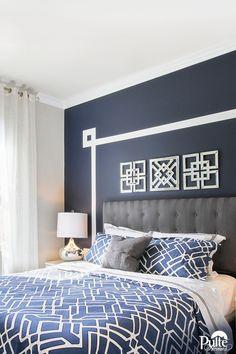 35 Ideas for bedroom white navy interior design White Bedroom Design, Bedroom Colors, Home Decor Bedroom, Bedroom Wall, Bedroom Ideas, Gray Bedroom, Master Bedroom, Blue Headboard, Above Headboard Decor
